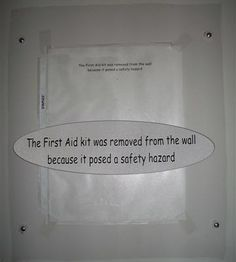 Check out this Safety Fail. The First Aid Kit was removed from the wall as it was a safety hazard! #safety #fail #GoldersSafety #firstaid #safetyfail