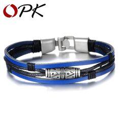 339f0fa4bd Fashion Multilayer Blue Leather Man Bracelets Clasical Design Copper Alloy  Anchor Clasp Men Jewelry 879 Vintage