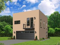 062G 0116: Modern Garage Apartment Plan Offers 2 Bedrooms U0026 2 Car Garage