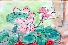 Abstract pink flowers watercolor sketch mixed by MyMexicanArt
