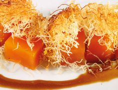 Candied Pumpkin Wrapped in Kadayıf and served with Tahini and Grape Molasses (Pekmez) Sauce by Istanbul  Contemporary Cuisine  #Turkish Dessert