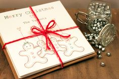 Pack of 6 Personalised Christmas Gingerbread Men Cards  £11.25