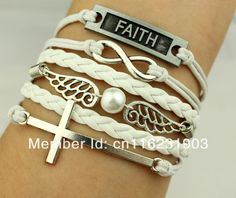 Find More Wrap Bracelets Information about 6 PCS Cross,Infinity & harry potter Owl and FAITH tag Charm Bracelet in Silver    White Wax Cords and Leather Braid,High Quality bracelet charm wholesale,China charm chain bracelet Suppliers, Cheap charm bracelet women from GoGo Jewelry on Aliexpress.com