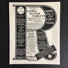 b8cea3d2799a4 1900 Rare Large Full Page Antique Advertisement. Letter R Rx Lithia Water