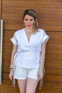 Look blusa de amarração e short com franjas (off white) - www.cinthiasobral.com