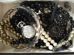 Black ribbons and pearls autumn 2012 jewellery
