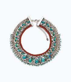 ZARA - WOMAN - TURQUOISE DIAMANTE NECKLACE