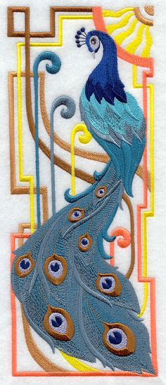 Machine Embroidery Designs at Embroidery Library! - Art Deco Birds and Feathers Learn Embroidery, Machine Embroidery Applique, Free Machine Embroidery Designs, Silk Ribbon Embroidery, Embroidery Files, Applique Designs, Embroidery Stitches, Hand Embroidery, Embroidery Books