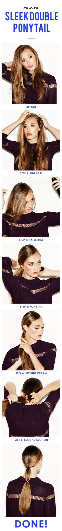 5 steps to a super sleek ponytail with a twist #hair #ponytail
