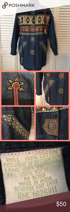 """SouthWestern style Denim Coat - see description❣ This is so Awesome.  Faux leather,  wooden beads,  Tapestry all with that Indian Look.  Quilted between lining and coat.  Gorgeous piece here!  22"""" arm pit to arm pit or 44"""" bust.  Length is  30"""" from top of shoulder to Hem. Arm length from edge of sleeve to hem is 22"""" 202 Hickory Jackets & Coats Jean Jackets"""