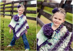 PATTERN - Dahlia Poncho and Headband -  Crochet PDF Pattern. $7.50, via Etsy.