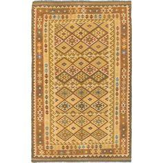 ecarpetgallery Handmade Anatolian Brown and Yellow Kilim Rug