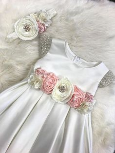 Flower Girl Dress Baby Girl Dress white satin baby dress dedication ceremony toddler Baptism Dress Christening dress First Birthday dress Frocks For Girls, Kids Frocks, Toddler Girl Dresses, Little Girl Dresses, Girls Dresses, Flower Girls, Flower Girl Dresses, Baby Flower, Toddler Baptism Dresses