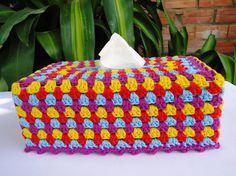 Crochet granny tissue box cover