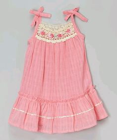 This Little Cotton Dress Coral Pink Floral Crochet Ella Dress - Infant & Toddler by Little Cotton Dress is perfect! Baby Girl Dress Patterns, Little Girl Dresses, Baby Dress, Girls Dresses, Flower Girl Dresses, Kids Outfits Girls, Girl Outfits, Fashion Outfits, Cotton Frocks