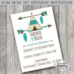Tribal Pow Wow 1st Birthday Party Invite by SmartyPartyDesigns
