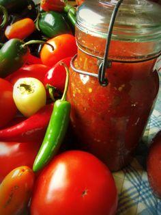 Cooked Tomato Jalapeño Salsa - Hispanic Kitchen. Great recipe for canning.