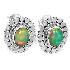 3d6dafc94 Fire Opal Stud Earrings Opal Earrings, Sterling Silver Earrings Studs,  Opals, Rainbow Colors