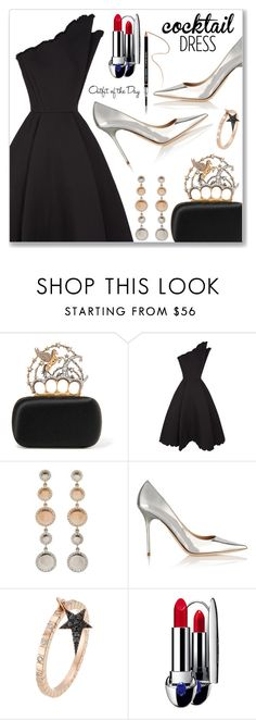 """""""Cocktail Dress"""" by dressedbyrose ❤ liked on Polyvore featuring Alexander McQueen, Vika Gazinskaya, Jimmy Choo, Diane Kordas, Guerlain, Givenchy, Petit Bateau, ootd, cocktaildress and polyvoreeditorial"""