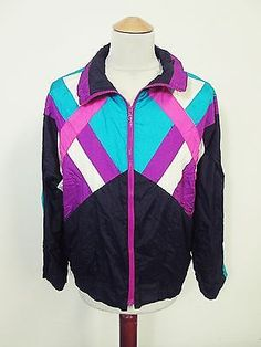Vintage USA Purple Black Bike Indie Pattern Shellsuit Tracksuit Top Jacket M