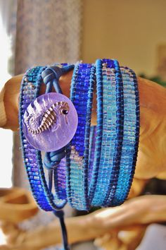 UNDER THE SEA 5 Wrap Blue Leather Bracelet by BraceletsofBlueRidge, $112.00
