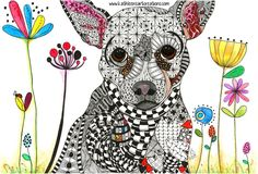 "Whimsical Zentangle® Inspired Chihuahua named ""Jetson"". Completed November 12, 2014. A 12-pack of note cards are available for $23.00 with FREE shipping and handling. Prints, plates, mugs, mousepads, doggie tanks, coasters, checkbook covers, throw pillows  etc., also available."