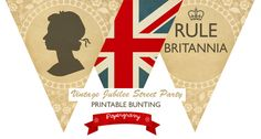 Digital Printable Vintage Royal Jubilee British union jack BUNTING Banner Flags party. $4.00, via Etsy.