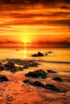Devon Sunset by Alan Sheers on Ocean Pictures, Cool Pictures, Sol Sun, Image Nature, Orange Aesthetic, Beautiful Sunrise, Landscape Pictures, Sky And Clouds, Sunset Photos