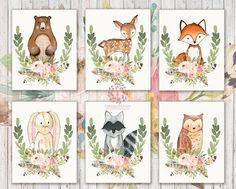 Set Lot of 6 Woodland Boho Bohemian Feather Floral Nursery Baby Girl Room Prints Printable Print Wall Art Home Decor