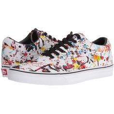 Vans Old Skool ((Paint Splatter) Multi/True White) Skate Shoes ($65) ❤ liked on Polyvore featuring shoes, sneakers, white leather shoes, lace up shoes, leather shoes, vans sneakers and vans shoes