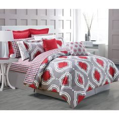 Create a relaxing bedroom atmosphere with this beautiful comforter set boasting an attractive fretwork pattern. Available in mineral or red tones, this set is sure to instantly upgrade any bedroom.