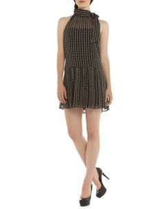Sleeveless Bow-Tie Print Dress - Black Cocktail dresses Jacob