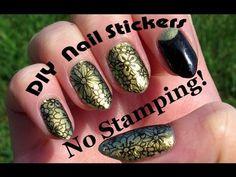 ▶ Easy Cartoon Flower DIY Nail Art Sticker Tutorial - No Stamps! - YouTube