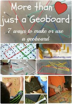 7 ways to make or use a geoboard kids from powerful mothering Play Based Learning, Early Learning, Kids Learning, Motor Activities, Educational Activities, Preschool Activities, Math For Kids, Fun Math, Maths