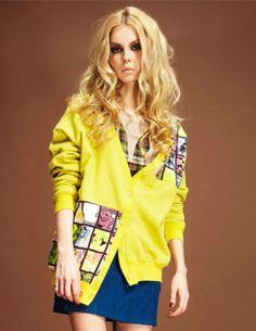 Punk Stylish V-neck Buttons Grids Printing Loosen Short Coat _Short Coats_Outerwear_Wholesalekingdom.net