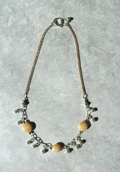 Honey White Calcite Choker Necklace, Natural Stone Necklace