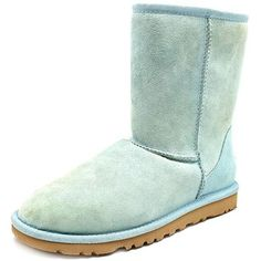 Ugg Australia Classic Short Women Winter Boots ($120) ❤ liked on Polyvore featuring shoes, boots, ankle booties, aqua, cuff boots, cuffed boots, ankle boots, suede heel boots and ankle bootie boots