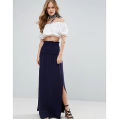 ASOS Maxi Skirt with Shirred Waist and Thigh Split ($36) ❤ liked on Polyvore featuring skirts, blue, tall maxi skirt, ruched skirt, rayon maxi skirt, blue high waisted skirt and ankle length skirts
