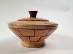 Decorative hand turned wooden segmented bowl by Latherandstrop