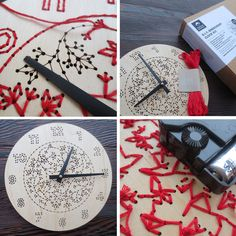 DIY Embroidery Wood Clock Kit von CuriousDoodles auf Etsy