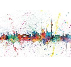 Berlin Skyline - Berlin, Germany - Pop-Art Poster/Print (Watercolor Painting by Michael Tompsett) (Poster & Poster Strip Set) Pop Art Poster, Poster Shop, Poster Prints, Poster Poster, Abstract Canvas, Abstract Print, Canvas Wall Art, Canvas Prints, Wall Mural