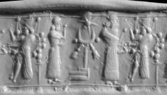 Neo-Assyrian 'Ishtar of Arbela' Cylinder Seal, 9th-8th Century BC  Made of red and white layered agate depicting a worshipper before the goddess Ishtar of Arbela. She is in her warrior aspect, which is indicated by her striding right leg protruding from an overskirt and revealing a warrior's kilt). She wears crossed quivers and is surrounded by her astral nimbus. Behind is another suppliant worshipper before a recumbent crescent (representing the moon god Sin) on a pedestal with a…