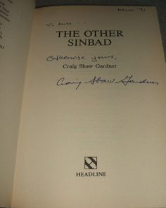 The Other Sinbad by Craig Shaw Gardner 1991  1st edition Inscribed by the Author