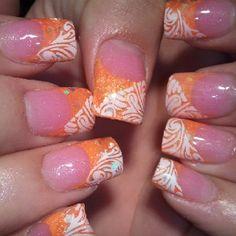 Orange nails By Tara
