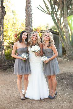 bridesmaid dresses, elegant, grey, strapless, sweetheart, tea-length, classic, vneck, wedding dresses, white, stiletto, women shoes, Bridesmaids, Spring, Summer, rustic, San Juan Capistrano, California