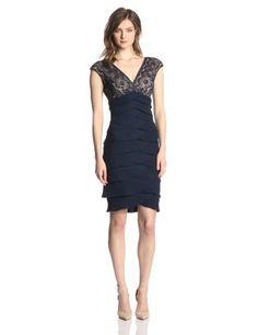 Jessica Howard Women's Cap Sleeve Lace Artichoke Dress, Navy/Tan, 14