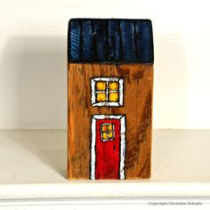 Miniature House Art Painted on Reclaimed Woodblock by TaylorArts