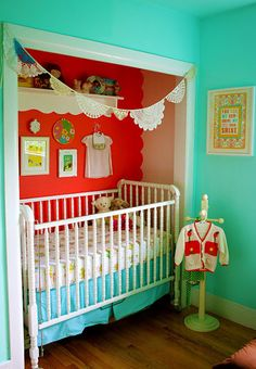 This A Bit of Sunshine room shows a closet-turned-crib-area for a baby girl (she shares the room with an older brother). Bold colors make this room pop! Room paint colors: Sprinkle (wall paint) and Tropical Bloom (behind crib): Valspar. Darling crib shelf and doily banner. Designing a boy girl shared room can be a challenge. ...continue reading