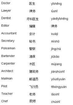 Professions Vocab | 中文