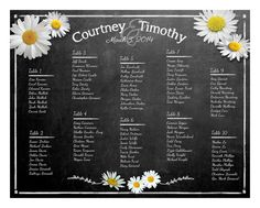Chalkboard & White Daisy Style Wedding Seating by PSPrintables, $35.00